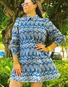 ZARA BLUE DENIM PAISLEY FLORAL EMBROIDERED IVY SHIRT DRESS CUTWORK EMBROIDERY L