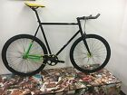 State Bicycle Co Fixed Gear Fixie Single Speed Bike -Black and Green/yellow 62cm