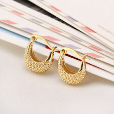 Shiny 18K Yellow Gold PL Gold Twist Swirl Rope Creole Hoop Loop Earrings Gift