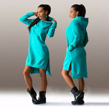 Women Long Sleeve Hooded Short Mini Dress Hoodies Sweatshirt Pullover Jumper Top