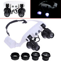 10X15X20X 25X LED magnifier double eye glasses loupe lens jeweler watchrepairTFS