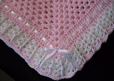 Hand-Crochet Pink & White Square Baby Blanket Afghan