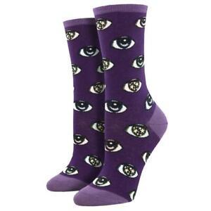 Socksmith Women's Crew Socks Starry Eyes Eyeballs Purple Novelty Footwear