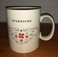 Starbucks Christmas Coffee Mug 18oz Beige and Red Candy Swirls