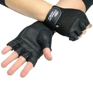MENS LEATHER FINGERLESS BLACK DRIVING MOTORCYCLE BIKER GLOVES Work Out Exercise
