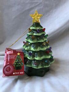 "Christmas 7"" Light-Up Green Nostalgic Ceramic Christmas Tree Battery Operated"