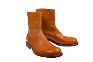 Silvano Lattanzi Orange Leather Boots 10 (EU 9) Hand-made in Italy