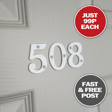 New White Acrylic Plastic Door Numbers For House Front Doors, Signs & Plaques 2""