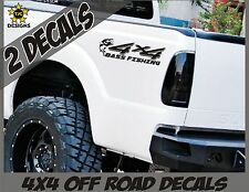 4x4 Truck Decal Set, Bass Fishing, GLOSS BLACK for Ford Super Duty F-250 etc