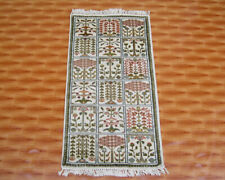 Beige Color Hand Knotted 2'x4' Afghan Kilim Rug Carpet Traditional Ghazni Floral