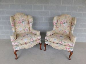 Ethan Allen Queen Anne Style Wing Back Chairs - a Pair