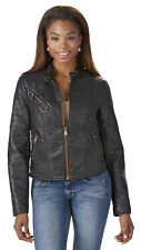 Marc NY Womens Vivian Leather Look Scooter Jacket Black XL #NKGVA-931