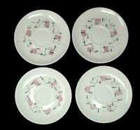 Vintage Vernon Ware TICKLED PINK by Metlox MCM set of four saucers