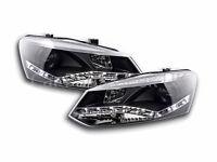 VW Polo 6R 2009-2017 Black LED DRL Daylight Running Headlights RHD FREE P&P