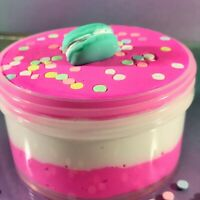 "DIY Clay Butter Slime ""KITTY CAKE"" Pink Sprinkles Macaroon Charm Scented 6 8 oz"
