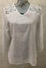 Blanc Du Nil White Lace Floral Style Back 100% Cotton Blouse Top T1