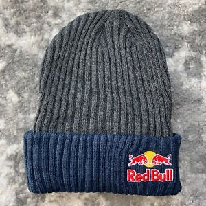 RED BULL ATHLETE ONLY BEANIE- CHARCOAL GRY / BLUE - WINTER HAT - RARE - MONSTER