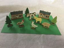 Vintage Tiny Wood Toy Farm Set - Barns, Cow, Sheep, Pig, Rooster, Duck, ~Germany