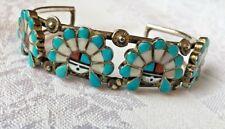 Vintage bracelet, handcrafted, turquoise, mop & coral, sterling silver, Signed