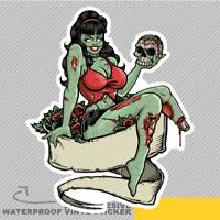 Zombie Pinup Girl Holding A Skull Vinyl Sticker Decal Window Car Van Bike 2887