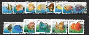 SINGAPORE SG1127/35 2001 TROPICAL FISH NO 1130b 2005 31c FINE USED