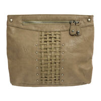 RELIGION Women's Taupe Interweave Faux Leather Clutch Bag NA1096 $130 NWT