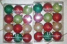 Lot 2 Boxes 12 Ct Sandra Lee Red - Green-Gold Frosted Ornament Xmas 48mm