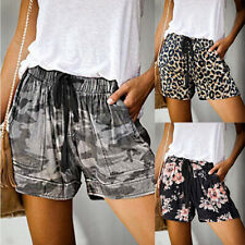 Womens Drawstring Baggy Casual Shorts Elastic Waist Summer Pocketed Loose Pants
