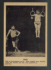 1943 Mint Holland Anti Nazi Propaganda postcard WW2 Hitler Mussolini Acrobats