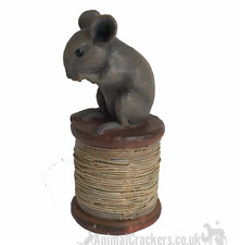 More details for cute antique effect mouse on reel ornament decoration mice or sewing lover gift