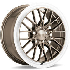 "(4) 18"" Staggered Ace Alloy Wheels AFF04 Bronze with Machined Lip Rims(B45)"
