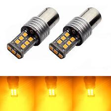 2X BA15D 1156 P21W 2835 15 LED TURN SIGNAL INDICATOR CANBUS BULB GLOBE AMBER Set