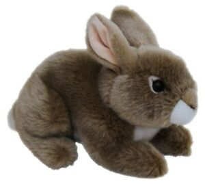 Bunny soft toy realistic and soft. 20cm long  brown