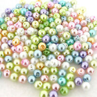 Wholesale Mixed Pastel Glass Pearl Loose Round Spacer Charms Beads 4-12mm Crafts