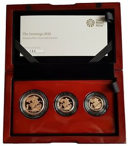 2018 ROYAL MINT PREMIUM 3 COIN GOLD PROOF SOVEREIGN SET £2 - 1/2 SOV - BOXED