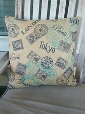 "Natural, Navy & Green Passport Stamp Burlap Pillow Cover 18""x18""- FREE SHIP!"