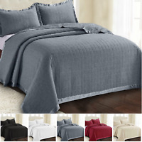 Embossed Bedspread Quilted Throw Comforter Bedding Set Single Double King Size