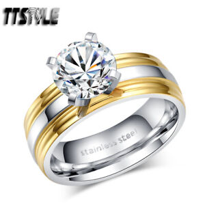 TTstyle 14K GP Double Stripe Stainless Steel Wedding Band Ring Size 6-10 NEW