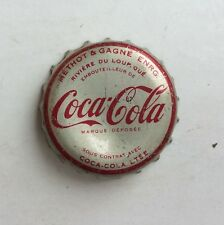 Coca Cola SODA crown bottle cap QUEBEC CANADA flat acl top cone Methot Gagne can