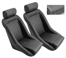 RETRO CLASSIC VINTAGE RACING BUCKET SEATS BLACK PERFORATED W SLIDERS (PAIR)