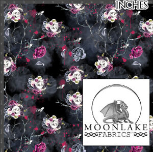 Skull And Flower Vampire 100% Quality Cotton Poplin Fabric * Exclusive *