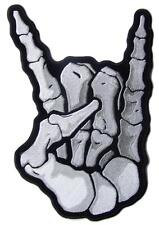 JUMBO EMBROIDERED SKELETON ROCK ON  PATCH JBP091 11 INCH NEW jacket DEVIL HORNS