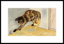 """""""EMILY'S TOY"""" TORTOISE SHELL CAT FRAMED A/P ART PRINT DREW STROUBLE CATMANDREW"""
