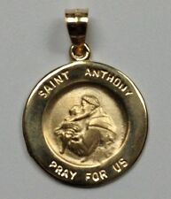 #M-3 14Kt Yellow Gold Round St. Anthony Pray For Us Religious Medal