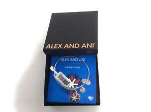 Alex and Ani TEAM USA Snowflake Bangle Bracelet Shiny Silver NWTBC