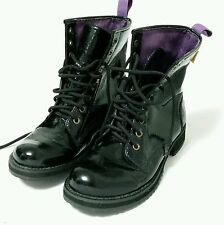 Blowfish ankle combat boot lace up 8.5 faux patent leather