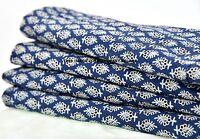 2.5 Yard Indian Ajkrh Hand Block Print Cotton Dress Material Blue Floral Fabric