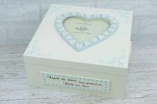MEMORY Box RICORDI Blue Boy Legno Vivaio Arredamento Cuori Baby Battesimo F0939C