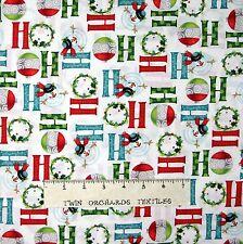 Christmas Fabric - Let It Snow Ho Ho Ho Words Snowman White - Benartex 1.27Yd