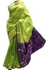 ASB3421 Lime Green and Indigo Art Silk Saree Art Silk Saree Curtain Drape Fabric